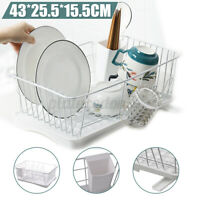 Dish Drying Rack Drainer Dryer +Drip Tray Kitchen Cup Plate Board Storage Holder
