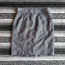 Banana Republic Sz 6 Knee Length Linen Blend Chambray Straight Pencil Skirt Blue