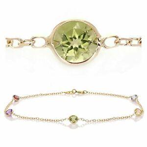 """14k Yellow Gold Natural Multi Color Round Gemstones Anklet Bracelet 9"""""""