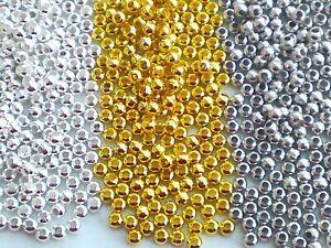 50/100/200 Metall Perlen 3 mm Zwischenperlen Spacer Kugel rund Basteln Auswahl