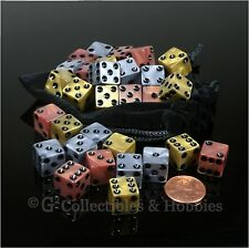 NEW Set of 30 Olympic Gold Bronze Silver 12mm Dice & Bag RPG D&D MTG Game D6s