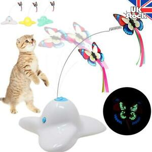 Pet Cat Dog Toy Electric Rotating Butterfly Play Seat Scratch Teaser Steel Wire