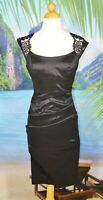 XSCAPE Black BodyCon Gathered Cocktail Dress 4 Lace Shoulders Slight Cap Sleeves