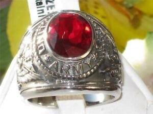 Mens army ring signet oval ruby cz usa military stainless steel silver 41470