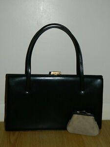 Vintage Retro Acadia Black Leather Kelly Bag Handbag With Purse Made In England