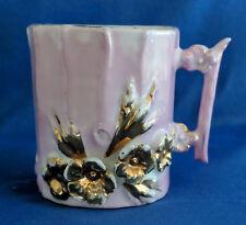Antique Victorian Luster Lustre Mug Pink Gold Flowers Floral Bisque 110