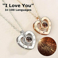 100 Languages Light Projection I Love You Heart Pendant Necklace Lover Jewelry