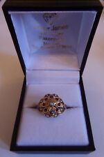 Red GARNET and SEED PEARL CLUSTER RING 9ct yellow gold fully hallmarked flower