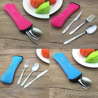 3Pcs/Set Stainless Steel Fork Spoon Knife Camping Hiking Survival Lunch Cutlery