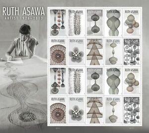 2020 US Stamp - Ruth  Asawa - Pane of 20 - SC# 5504-5513