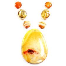 Feu unique BOTSWANA AGATE DRUZY collier pendentif perle set kits de fabrication de bijoux
