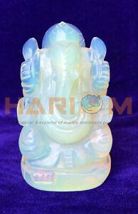 """4"""" Opal Stone Spiritual Hindu God Ganpati Ganesha Mini Bappa Statue Present G040"""