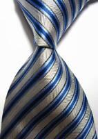 Hot! Classic Striped Silver Blue JACQUARD WOVEN 100% Silk Men's Tie Necktie