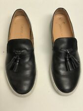 DSQUARED2 Pre-owned Men Black Leather Slip On Shoes Sneakers Made in ITALY