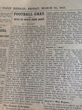 M1-6 ephemera 1911 Article Football News March 10th F A Cup 4th Rd News