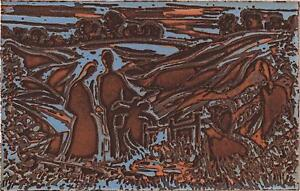 MOLLY DICKER Signed Aquatint Etching ABSTRACT FIGURES IN LANDSCAPE 1985