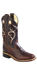 Old West Dark Brown Childrens Boys Carona Leather Square Toe Cowboy Boots