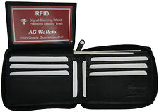 Mens Zip Around Bifold Leather RFID Blocking Credit Card/ID Security Wallet New
