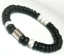 Black Coconut beads, Howlite & Links Of London sweetie silver rings, Bracelet