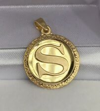 18k Solid Yellow Gold Letter Initial S Round Charm Pendant, 2.60 Grams