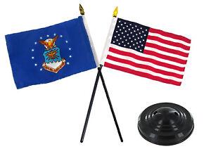 "Air Force w/ USA America American Flag 4""x6"" Desk Set Table Stick Black Base"