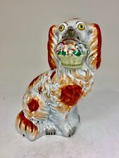 More details for antique staffordshire pottery spaniel dog with flowers circa 1845