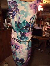 Eliza J Dress w/Belt - Lavendar/Aqua Blue Floral - Petite Size 6   Never Worn