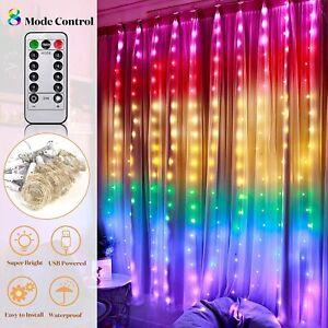 300 LED Curtain Fairy Lights String Backdrop Wedding Xmas Party Decor Waterproof