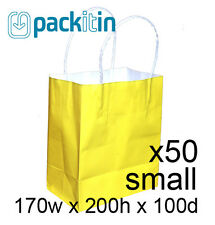 x50 YELLOW paper gift CARRY tote party BAGS with handles - SMALL (170 x 200mm)