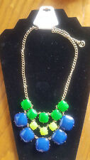 Erica Lyons Statement Necklace Blue Green Faux Faceted Stones Retails $45.00