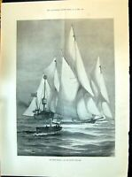 Original Old Antique Print 1898 Yachts Sailing Cowes Regatta Warner Light-Ship