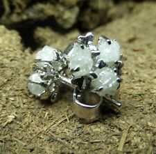 1.74 ct Gorgeous Natural gray White Raw Rough Diamond Earring 925 Silver cluster
