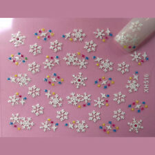 Christmas Nail Art Stickers Decals White Snowflakes Coloured Spots (xh516)