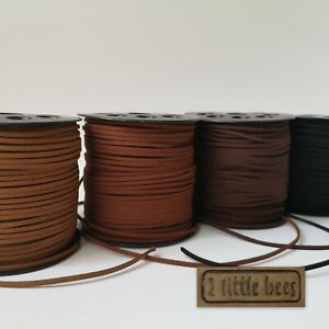 Flat Faux Suede Leather Cord Lace Velvet Thong Jewellery String Craft Brown