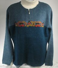 Women's Waliki 100% Alpaca Loomed Sweater Sz Med Blue Cardigan w/Embroidery NWT