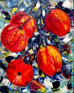 Fruit oil acrylic painting ready to hang original palette knife deep oil Smig