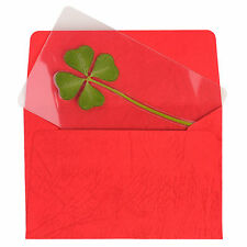 Real 4 Four-Leaf Clover Bookmarks Lucky Charm for Smartphone Wallet Case Purse M