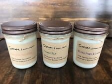 Three(3) 8 Oz , Scented Soy Candles, Hand Poured, 100 Percent Soy Wax