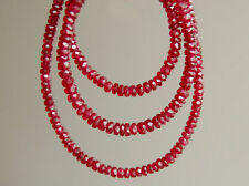 AAA Natural Un-Treated Ruby Faceted Rondelle Gemstone Beads 2.5-3mm.