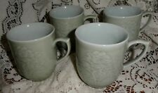 4 Celadon Lotus Flower Coffee Mugs Cups Jade Green Asian Lot of 4 Signed