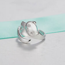 Cute Open Adjustable Panda Design Cat Ear Shape Silver Plated Finger Ring Gifts