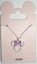 Disney Parks Silvertone Birthstone Necklace - Minnie Bow: June (Pearl Moonstone)