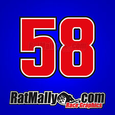 MARCO SIMONCELLI 58 MOTOGP RACE NUMBERS STICKERS DECALS x3