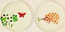 """2 West Elm Dessert Plates Salad  - Frog Butterfly Hedgehog Porcupine Plate 9"""""""