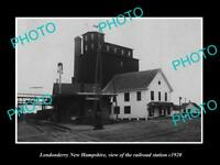 OLD LARGE HISTORIC PHOTO OF LONDONDERRY NEW HAMPSHIRE RAILROAD STATION c1920