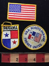3 Patches USA SCOUTS - PANAMA Friends United + Flags Latin America Patch C76F