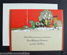 #F828- Vintage Unused Xmas Greeting Card Stunning Image of Stagecoach in Snow