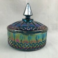 Indiana Princess Blue Carnival Glass Candy Box Bowl Dish with Lid Excellent Cond