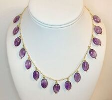 Classical Purple Amethyst & Green Peridot Pendant Drop Collar Necklace 16""
