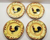 "Set of 4 Pfaltzgraff TUSCAN ROOSTER 8.5"" Lunch Salad Dessert Plates Great Cond"